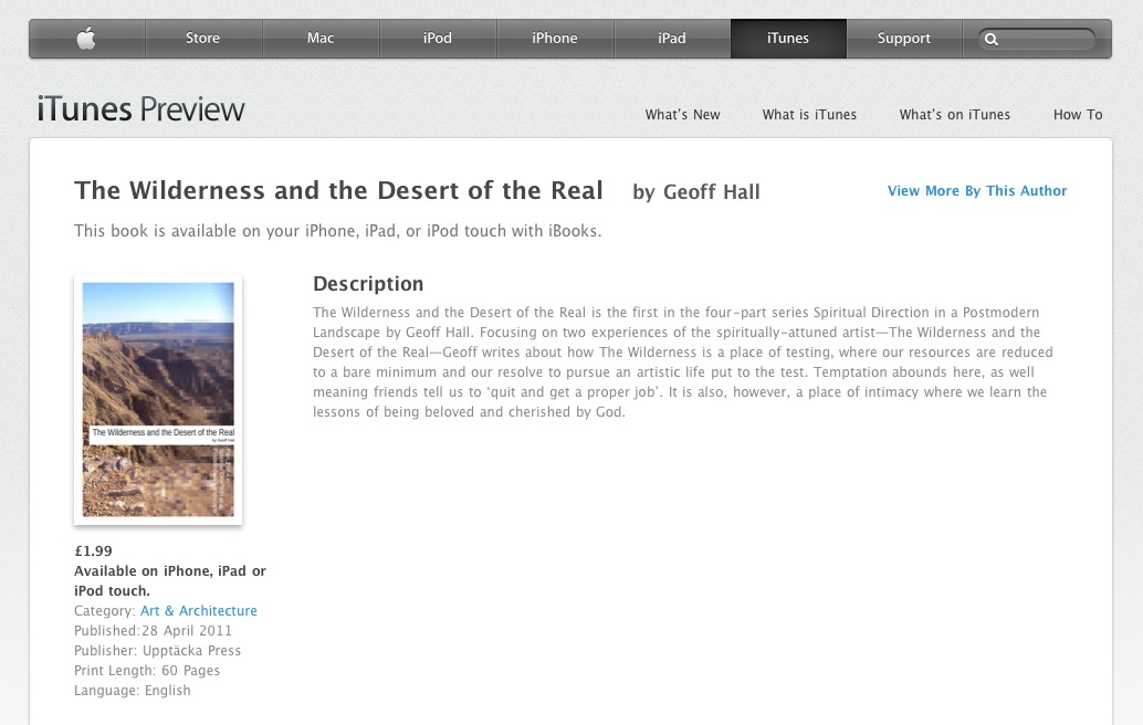Now on iBooks- The Wilderness and the Desert of the Real